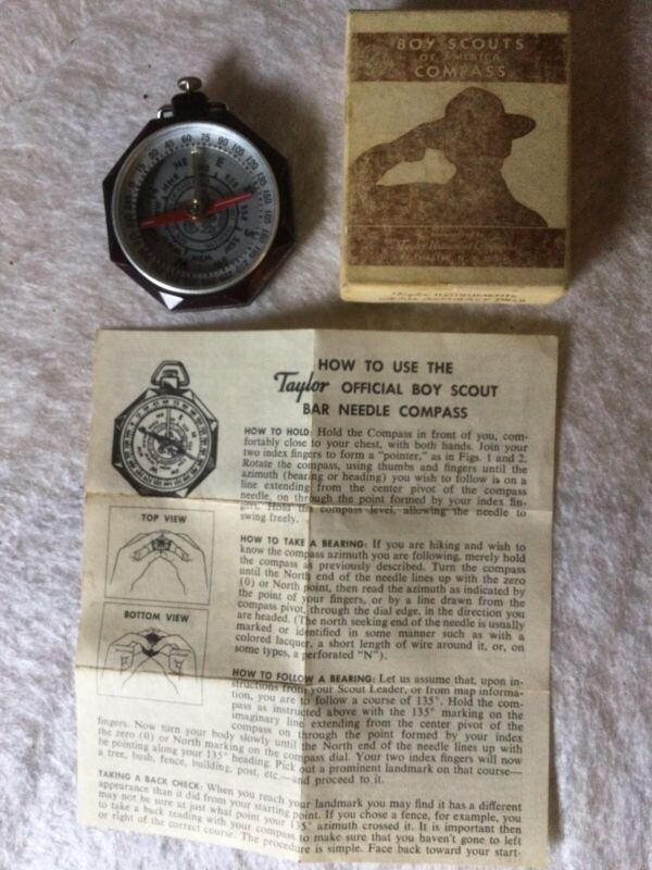 Taylor Official Boy Scout Bar Needle Compass No. 1075 w/ Box, 1950