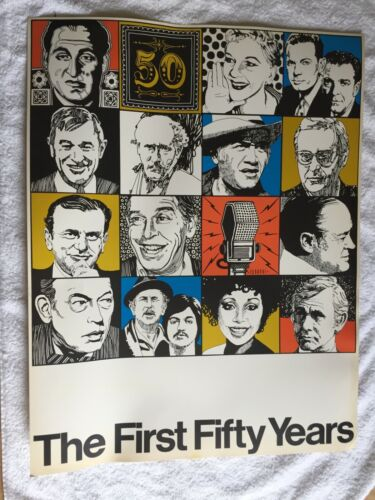 """Rare NBC poster """"First Fifty Years"""" 1976 beautiful 21.5x28"""" TV show Carson Hope+"""