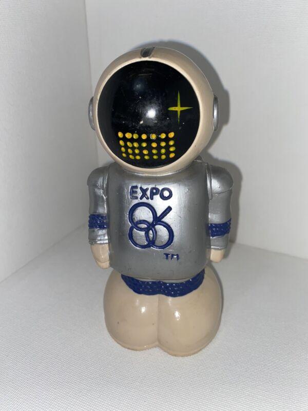 Vintage 1983 EXPO 86 Ernie Robot Astronaut Coin Bank Vancouver  Rare