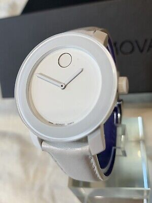 Movado BOLD Women's 36mm Watch  MB013296004 White Dial/Leather Strap w/Blue $495