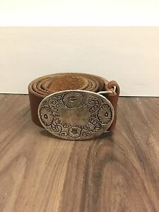 Brown Leather Belt with Buckle