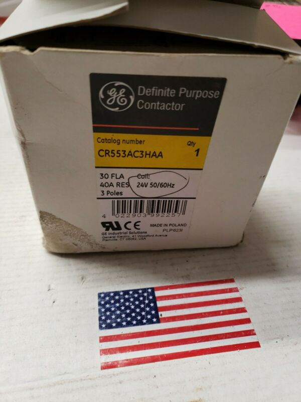 GE General Electric CR553AC3HHA Definite Purpose Contactor 30 FLA 24 VAC #7258
