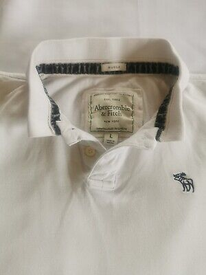 Abercrombie & Fitch White Muscle Polo Shirt / T Shirt mens Large L A+F new york