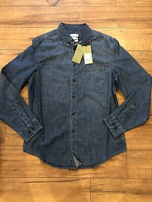"""Mens Size Medium Goodfellow & Co. """"Image Blue"""" Long Sleeve Button Down Jean (Down Icon)"""