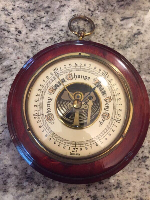VINTAGE German Barometer Brass And Wood 5.25 Inch Diameter