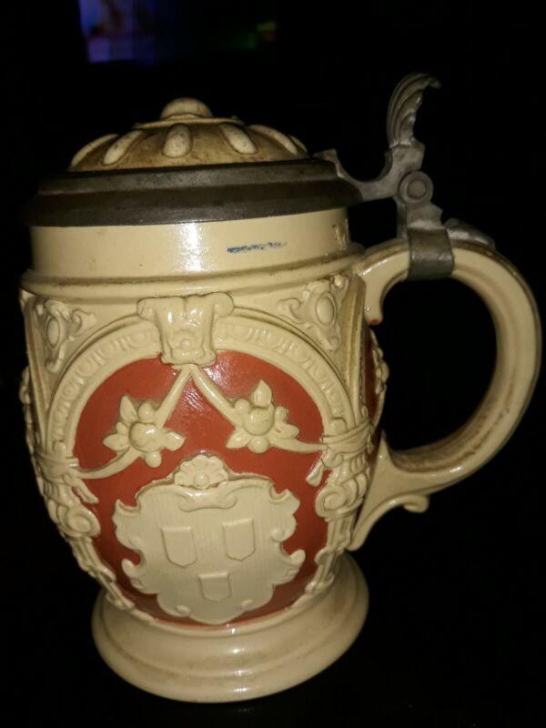 Antique Beer Stein pewter lid Mettlach pre 1900 Villeroy & Boch terra cotta 2077