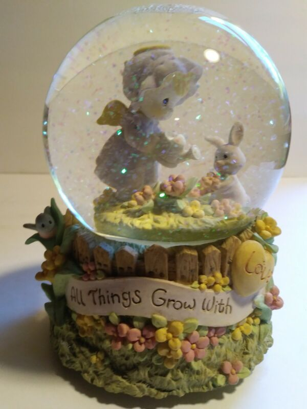 """Precious Moments Musical Waterball """"All Thing Grow With Love"""" Angel Bunny 1998"""