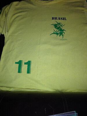 SEPULTURA tour shirt ROOTS 1996 BRASIL 11 yellow soccer jersey tee BLUE GRAPE  image
