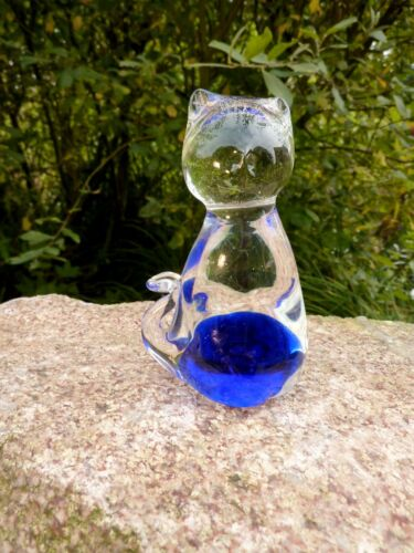Reizende Old Glass Figure Art Paperweight Cat 70er Blue Sculpture 3 11/16in