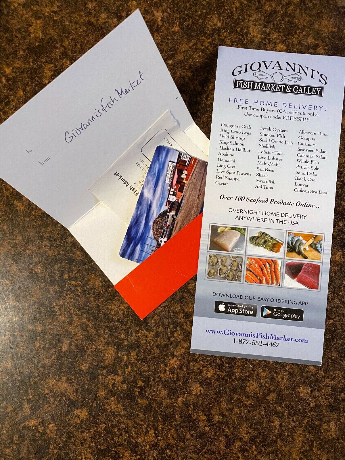25 Gift Certificate To Giovanni s Fish Market And Gallery - $20.00