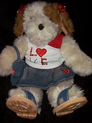 """17"""" VINTAGE BUILD A BEAR WHITE BEIGE BROWN SHAGGY DOG W/ Valentines Day Clothes"""