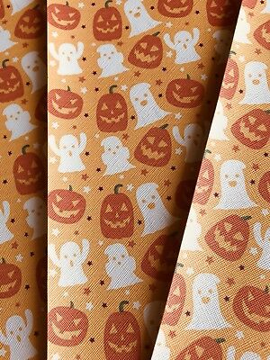 Fall Halloween Orange Pumpkin Fabric Sheets Hair bow Crafts Vinyl 7 X 11](Halloween Vinyl Crafts)