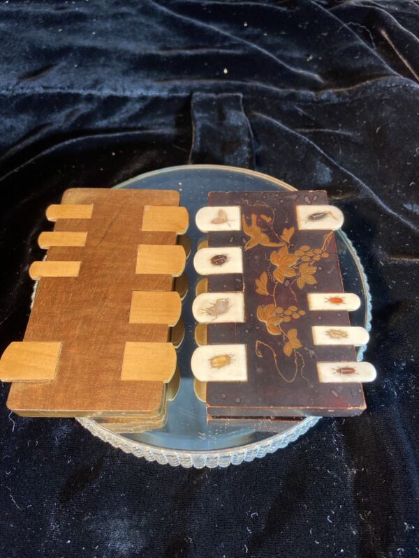 ANTIQUE LACQUER & BONE WHIST CARDS GAME COUNTER JAPANESE SHIBAYAMA SET OF 2
