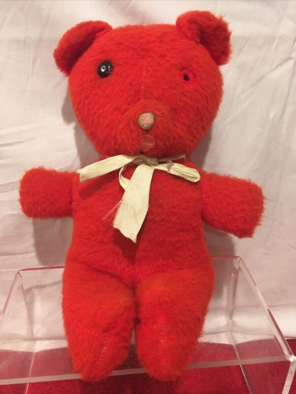 VINTAGE MUSICAL WIND UP TEDDY BEAR RED  STUFFED ANIMAL PLUSH TOY
