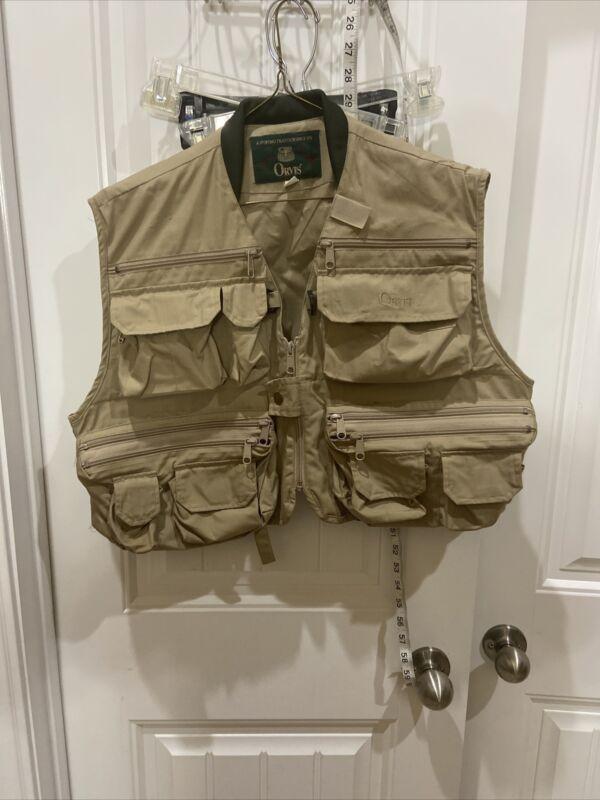Orvis Fly Fishing Vest Med Jacket Tan Khaki Hunting Utility Safari Photography