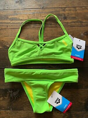 NEW Arena Womens 2-Piece Training Size 28 Yellow Leaf Competition (2 Piece Training Swimwear)