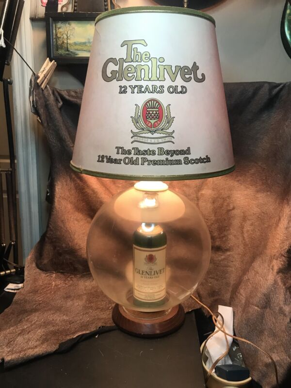 Vintage Glenlivet 12 Year Old Scotch Whiskey Bottle Table Lamp W/Org. Lampshade!