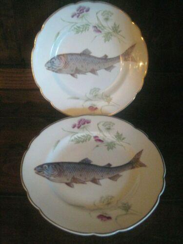 ANTIQUE BAVARIAN PORCELAIN FISH PLATE SET OF 2 CARLSBAD AUSTRIA AK Co.