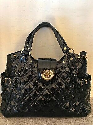 HOT Versace logo iconic monogram quilted black patent leather satchel bag $3,300
