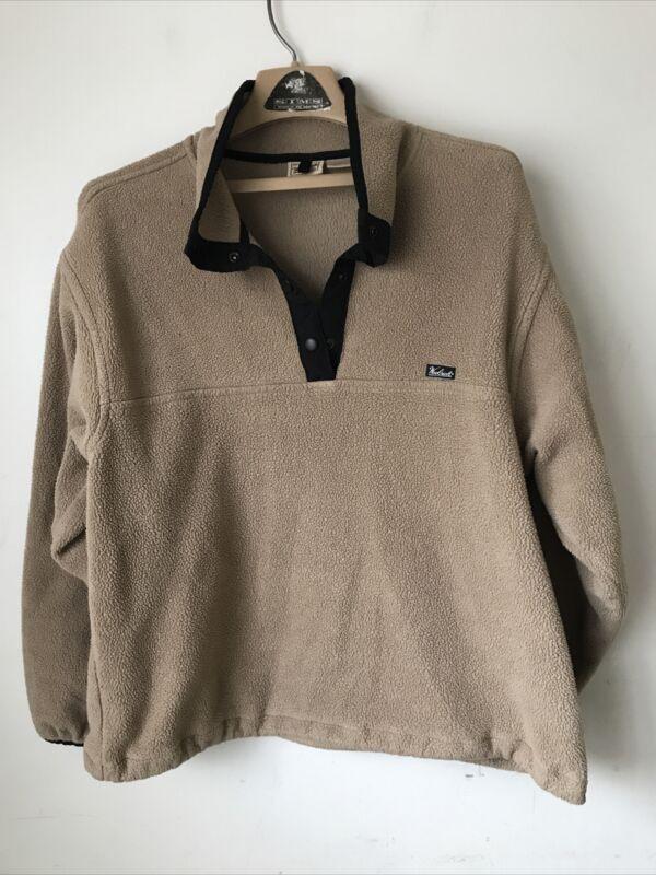WOOLRICH Fleece Womens Large Pullover Jacket 1/4 Snap Polartec Tan Sweatshirt