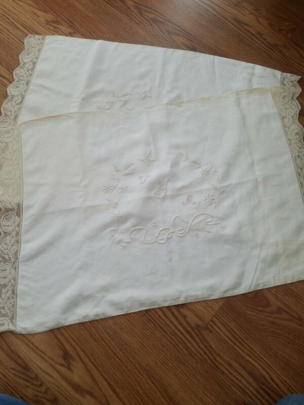 Pair antique white Irish linen Oxford pillowcases - lovely hand embroidery.