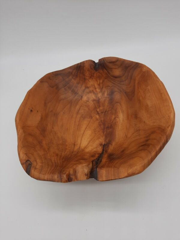 "Rustic Hand Carved Teak Wood 12"" Decorative Serving Bowl"
