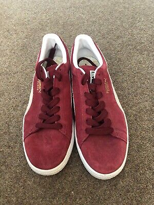 Mens Puma Red Suede Trainers, Size 9