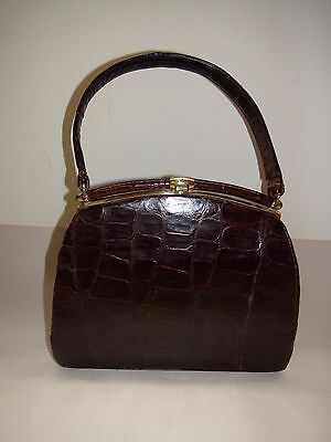 Clasp Satchel Handbag - Vintage Dark Brown Genuine Alligator Hinged Clasp Closure Satchel Handbag Purse