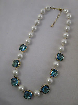 BIG Faux Pearl & Faceted Blue Glass Necklace Signed B China Gold Hearts Best
