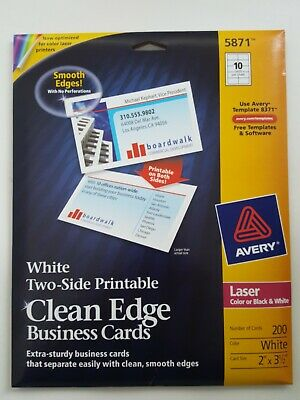 Avery Two-side Printable Clean Edge Business Cards White - Pack Of 200
