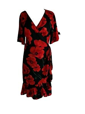 Jacqueline De Yong, Wrap dress, Size: 40/12, Red and Black flowery pattern