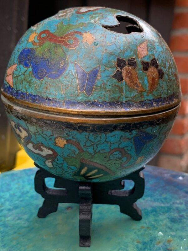 Antique Chinese Cloisonné Brass Incense Burner