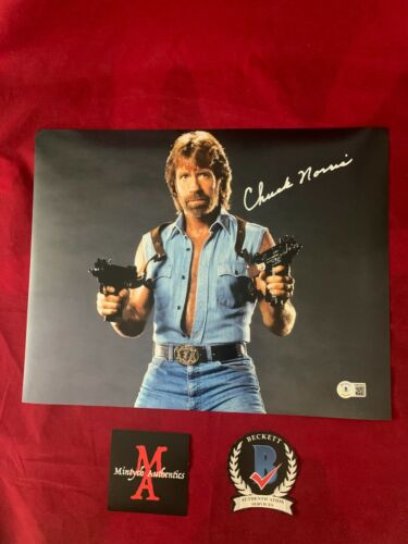 CHUCK NORRIS AUTOGRAPHED SIGNED 11x14 PHOTO! INVASION USA! BECKETT COA!
