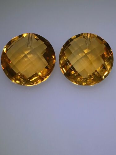 14.0mm  Loose Matched Pair AAA Double-Sided Checkerboard Cut Citrine Briolettes