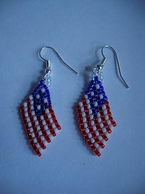 American USA flag Beaded Earrings Handmade UK