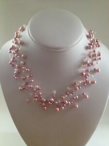 New David Elizabeth Jewelry, Pink & White Faux Pearl, Illusion Floater Necklace