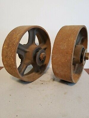 2 Antique Industrial Cart Cast Iron Spoked Wheels 8 Diameter X 2.5 Wide