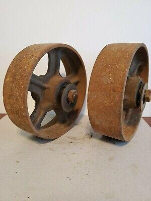 2 Antique Industrial Cart Cast Iron Spoked Wheels 8 Diameter X 2.5 Wide