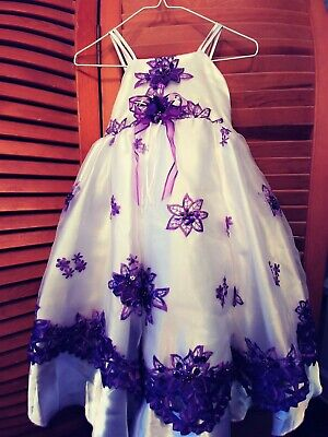 Wedding Special Occasion Pageant Flower Girl Dress White Satin and Purple Lace](White And Purple Flower Girl Dresses)