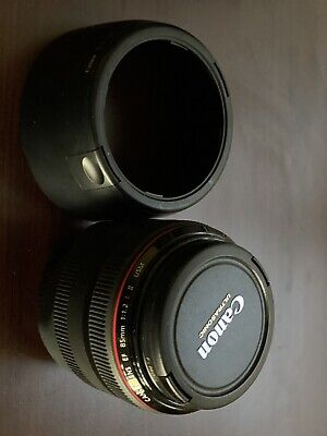 Canon EF 85mm f/1.2L II USM Lens. Includes Hood And B&W UV Filter. Mint.