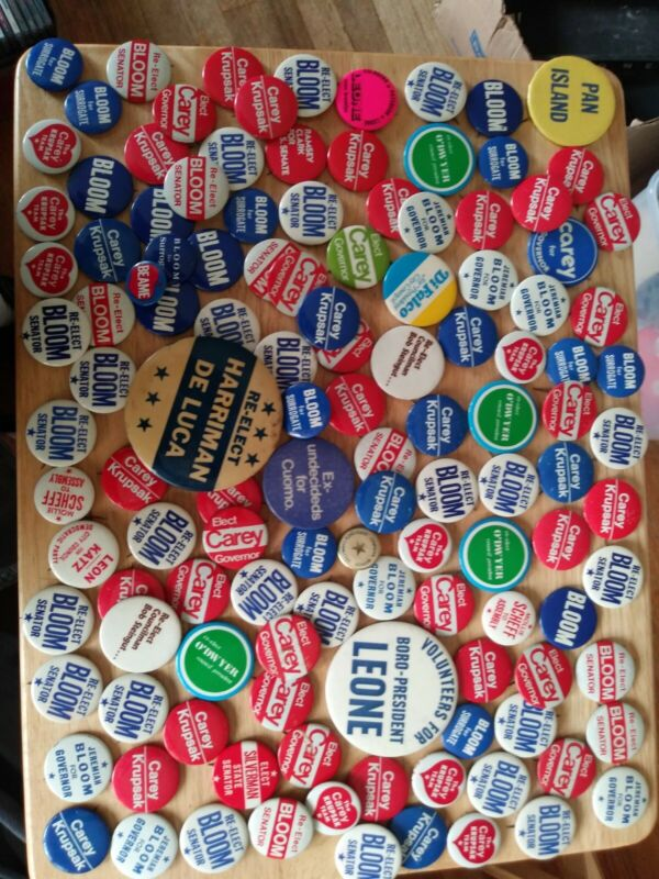 LOT OF DEMOCRATIC PARTY PINS BUTTONS NEW YORK Carey Bloom Krupsak Cuomo vintage