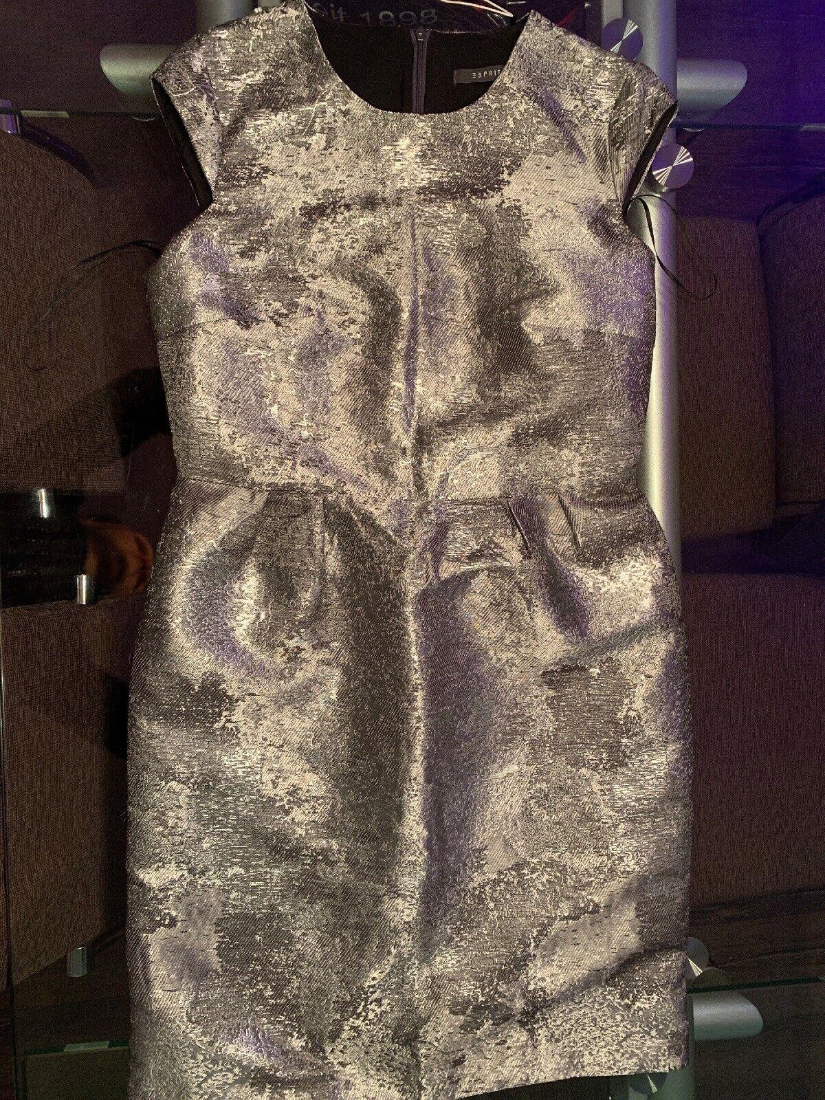 Neu Esprit Kleid Festlich Silber Gr. 38 Für Mädchen/Damen