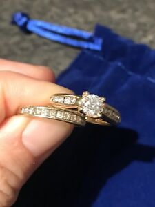 Stunning engagement ring with matching wedding band