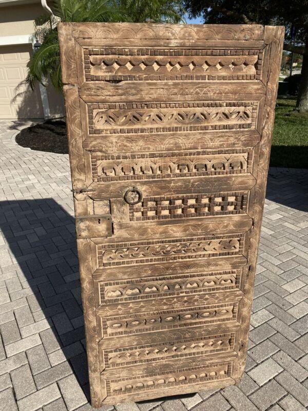 Antique Moroccan Door Hand Carved