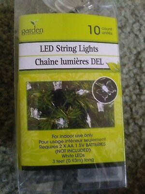 Fairy Garden 10 LED Lights Flowers Leafs Butterfly Dragonfly 2-AA Battery Power