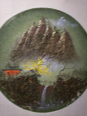 Oriental multi-media circular artwork, signed in Glyphs, framed