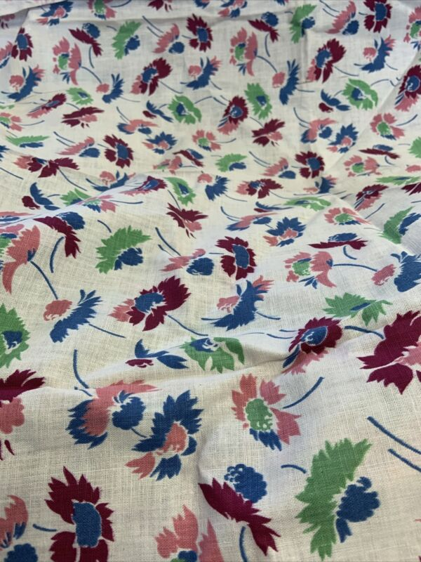 Vintage feedsack full feed sack blue pink  burgundy green floral cotton fabric
