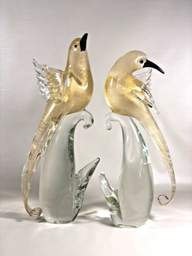 MURANO Glass Figurine Birds of Paradise Yellow/Gold