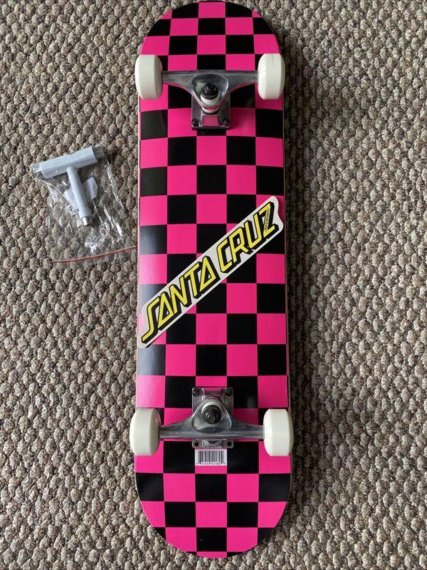 "Skate Park Skateboard Complete Checkered PINK & Black 32"" Santa Cruz Sticker T"