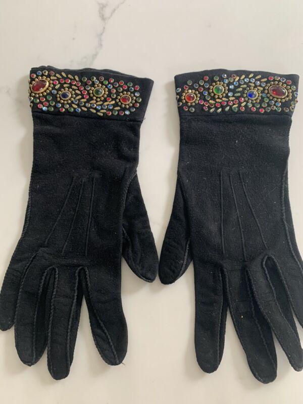 Vintage Suede Beaded Women's Gloves